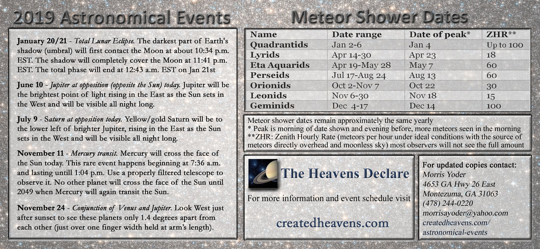 Astronomical events - The Heavens Declare